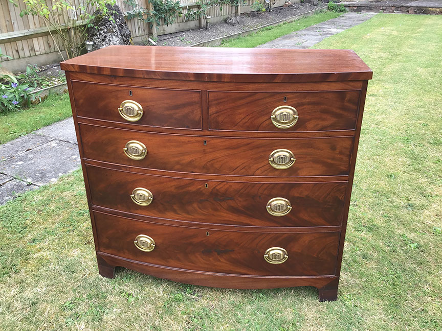 Bow front chest of draws