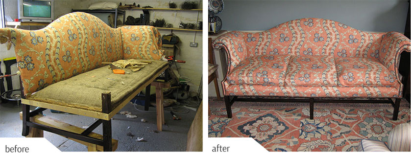 Re-upholstered sofa